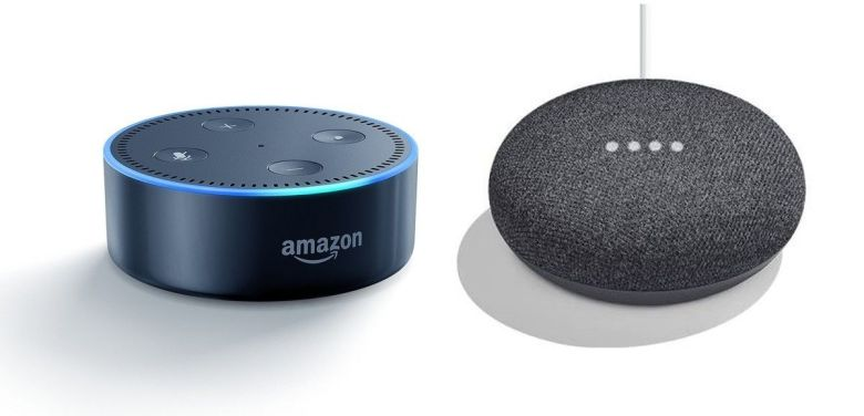 Echo-Dot-and-Google-Home-Mini